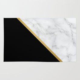 Marble, Black, White, Gold, Abstract Color Block Rug
