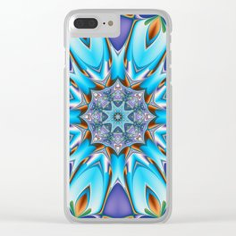 Whimsical bloom in blue, purple and orange Clear iPhone Case