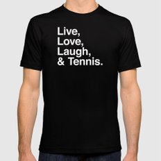 Live Love Laugh and Tennis Mens Fitted Tee Black LARGE