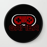 gamer Wall Clocks featuring Red Gamer by UMe Images
