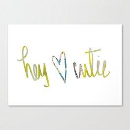 Hey Cutie! Fabric art Canvas Print