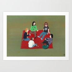 Meeting on a red blanket Art Print