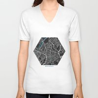 brussels V-neck T-shirts featuring Brussels city map black colour by MCartography