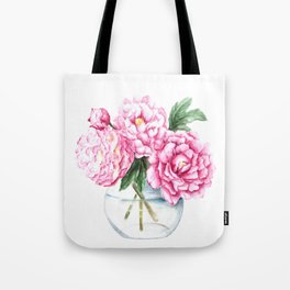 Pink Peony Painting, Watercolor Peony Art, Pink Flower Bouquet Tote Bag
