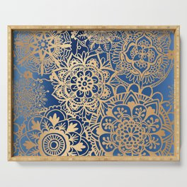Blue and Gold Mandala Pattern Serving Tray