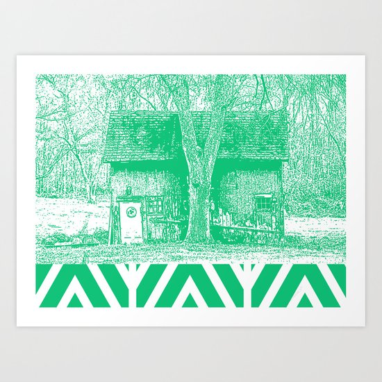 Barn leaning on Tree Art Print