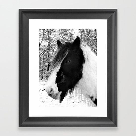 Horse. Black+White.Snow. Framed Art Print