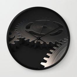 Set of metal gears and cogs on black Wall Clock