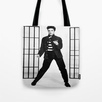 elvis presley Tote Bags featuring Elvis Presley by Neon Monsters