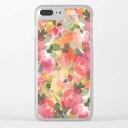 Coral Roses Clear iPhone Case