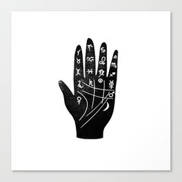 Linocut Hand palm reading minimal black and white palmistry fortune teller Canvas Print