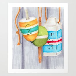 Lobster Buoy Trio Art Print