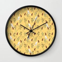 Shy little Jay in yellow Wall Clock