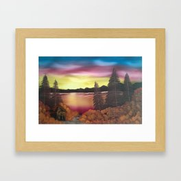 Sunset Over The Lake Framed Art Print
