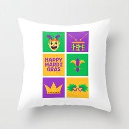 Mardi Gras Set Street Party Carnival Festival Gift Throw Pillow