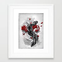 koi Framed Art Prints featuring Black Koi by Marine Loup