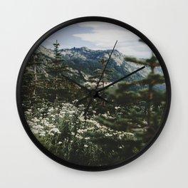Mount Rainier Summer Wildflowers Wall Clock