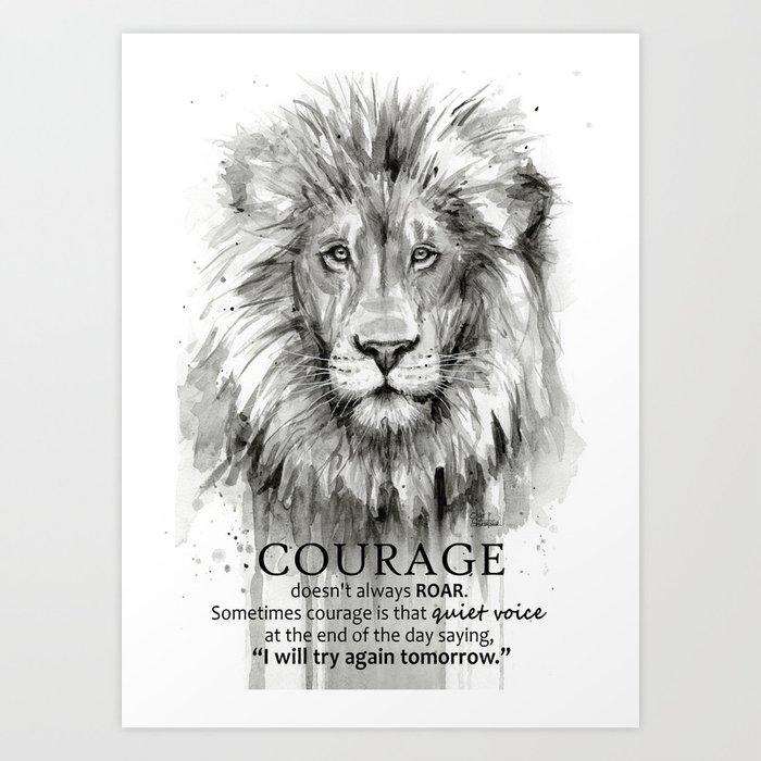 Lion Courage Motivational Quote Watercolor Painting Kunstdrucke