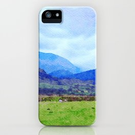 Sheep in Pasture View from Castlerigg Stone Circle, Lake District UK Watercolor iPhone Case