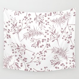 Mauve pink white elegant modern floral Wall Tapestry
