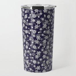 Festive Eclipse Blue and White Christmas Holiday Snowflakes Travel Mug