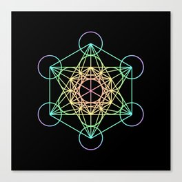 Metatron's Cube- Rainbow on Black Canvas Print