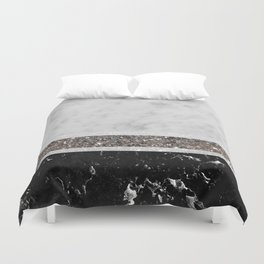 White and Black Marble Silver Glitter Stripe Glam #1 #minimal #decor #art #society6 Duvet Cover
