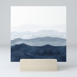 Indigo Abstract Watercolor Mountains Mini Art Print