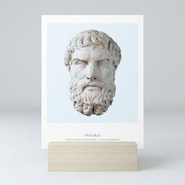 Epicurus Art Print, Portrait of Epicurus, Philosophy, Epicurus Bust, Epicurus Photo, Epicurus Art Print, Modern Home Decor, Blue, Epicurus Bust Print Mini Art Print