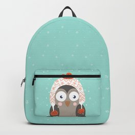 Owl Under Snow in the Christmas Time. Backpack