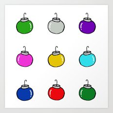 Colorful Christmas Baubles Art Print