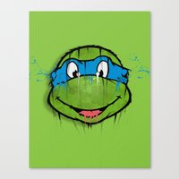 ninja turtle Canvas Prints featuring TURTLE POWER (NINJA TURTLE) by EAZYYOKEART