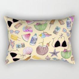 Summer Cute Girly Beach Collage on Yellow Rectangular Pillow