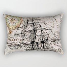 Vintage Naval Ship & Compass Rectangular Pillow