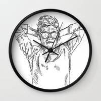 niall horan Wall Clocks featuring niall horan sketch by jessiicaas