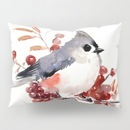 Titmouse and Berries, red fall colors, birds and flowers vintage style east coast Pillow Sham