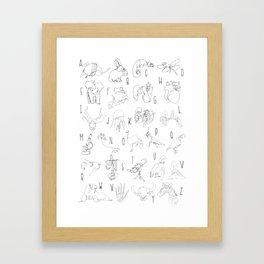 Blind Contour Alphabet Framed Art Print