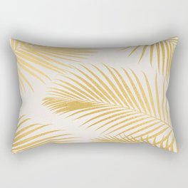 Metallic Gold Tropical Palm Fronds Rectangular Pillow
