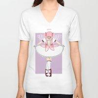 madoka magica V-neck T-shirts featuring madoka by flourpots