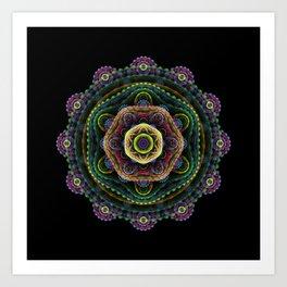 Fractal mandala on black Art Print