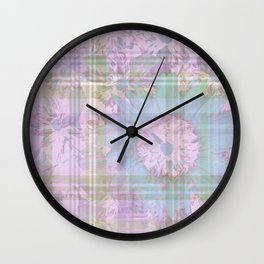 Pastel Flower Digital Collage Wall Clock