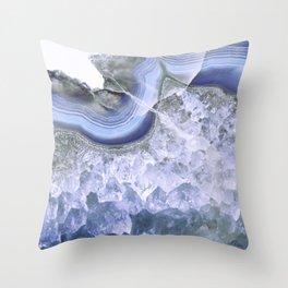 Intense Blue Agate Throw Pillow