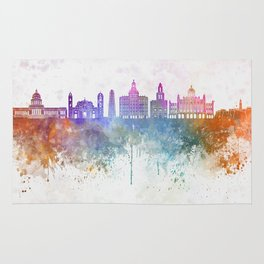 Havana V2  skyline in watercolor background Rug