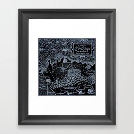 Map of Bohemia (black & white) Framed Art Print
