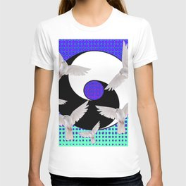 AQUA-LILAC FLYING DOVES Taoism/Daoism ART T-shirt