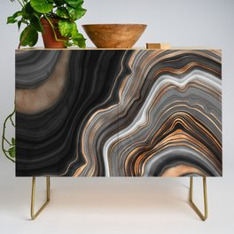 Elegant black marble with gold and copper veins Credenza