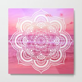 Water Mandala Hot Pink Fuchsia Metal Print