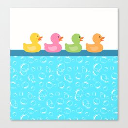 Rubber Duck Bubbles Ducks in a Row Bathroom Canvas Print