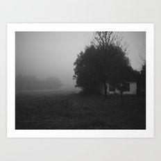 Misty Polish village in black and white Art Print
