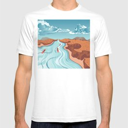 Blue river flowing through the high mountain and rafting people landscape T-shirt